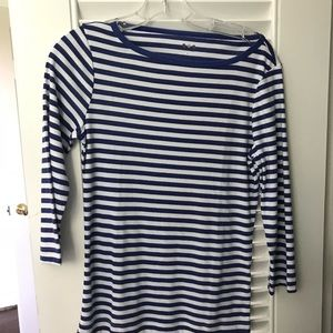 THREE DOT size large boat neck striped tee